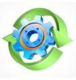 Gear with green arrows vector image