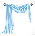 Blue asymmetric curtains on the ledge forged vector image