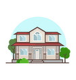 flat cottage house with trees and bushes vector image