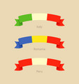 Ribbon with flag of italy romania and peru vector image