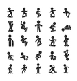 Set of Skateboard Boy Human pictogram Icons vector image