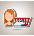 woman cartoon laundry basket vector image