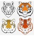 Tiger logo set vector image
