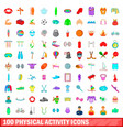 100 phisical activity icons set cartoon style vector image