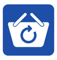 blue white sign - shopping basket refresh icon vector image