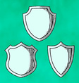 Set of woodcut shields vector image