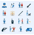 Security guard service icons set vector image