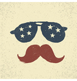 Sunglasses with stars and moustache Tee print vector image
