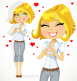 Cute blond girl folded heart out of the hands vector image
