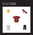 flat icon dress set of singlet t-shirt banyan vector image