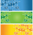 set of abstract banners with social media icons - vector image