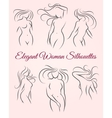 Six elegant woman silhouettes vector image