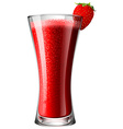Strawberry smoothie mocktail in glass vector image