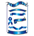 Blue ribbon and bow vector image vector image