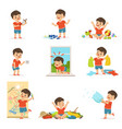 Funny little boy playing games and making mess vector image