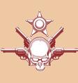 Vintage Wild West Skull Revolver Sheriff Badge vector image