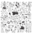 jazz musicians -doodles set vector image