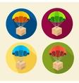 parachutes icons set vector image vector image