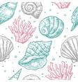 Seamless pattern sea shell engraving vector image