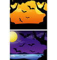 Background scenes with bats flying at twilight vector image