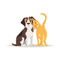 cat and beagle dog friendship vector image