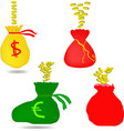 money bag with euro and dollar sign vector image