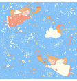 Christmas angels seamless pattern vector image vector image