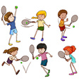 Male and female tennis players vector image