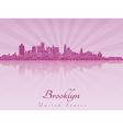 Brooklyn skyline in purple radiant orchid vector image