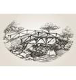 Bridge over river sketch vector image