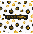 black white gold foil baubles merry christmas card vector image