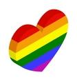 Rainbow heart isometric 3d icon vector image