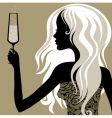vintage woman with glass of champagne vector image