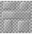 Transparent glass plates banners on plaid vector image