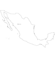 Black White Mexico Outline Map vector image