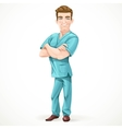 Cute men doctor in a green surgical suit and vector image