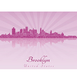 Brooklyn skyline in purple radiant orchid vector image