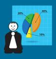 cartoon teacher - business presentation with chart vector image