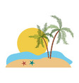 color silhouette with landscape of sea and big sun vector image