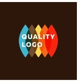 Colored flat semicircle style quality mark logo vector image