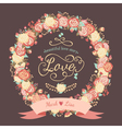 Cute wedding invitation with a wreath of roses vector image