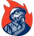 Fireman or firefighter wearing vintage gas mask vector image