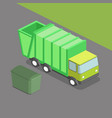 garbage truck isometric vector image