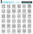 seafood outline mini concept symbols east vector image