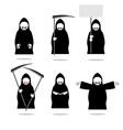 Set deaths in overalls Grim Reaper in different vector image