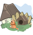tabby cat and a doghouse cartoon vector image