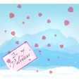 W inter mountains Valentine vector image