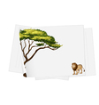papers and lion drawing vector image vector image