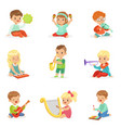little kids sitting and playing musical instrument vector image