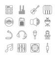 recording studio symbols icons set outline style vector image